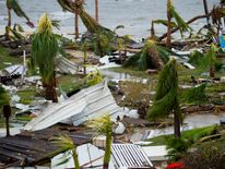 Destruction outside the 'Mercure' hotel in Marigot, on the Bay of Nettle, on the island of Saint-Martin
