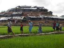 Rohingya refugees walk through a camp after arriving from Myanmar in Whaikhyang, Bangladesh