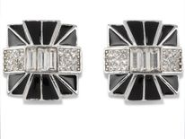 1980s Givenchy black enamel and paste square earrings - Estimate: £700-1,000