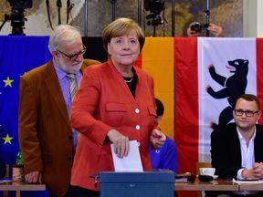 Angela Merkel votes in Berlin