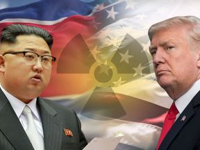 Graphic setup of Kim Jong Un and Donald Trump.