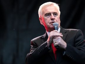 Shadow chancellor John McDonnell addresses supporters during a Labour Party rally in Park Hill park on June 6, 2017 in Croydon, England