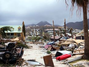 Damage in Orient Bay on the French Carribean island of Saint-Martin