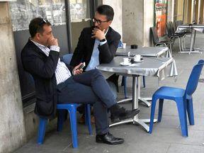 Jose Manuel Costas Estevez pictured with Mark Acklom in a Geneva cafe