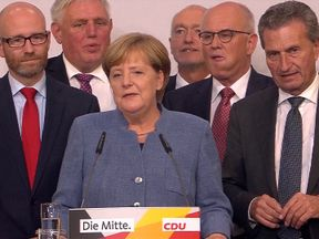 Angela Merkel gives her victory speech in Berlin