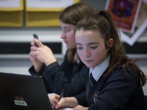 BRISTOL, UNITED KINGDOM - FEBRUARY 26: A pupil uses a laptop computer during a english lesson at the Ridings Federation Winterbourne International Academy in Winterbourne near Bristol on February 26, 2015 in South Gloucestershire, England. Education, along with National Health Service and the economy are likely to be key election issues in the forthcoming general election in May. (Photo by Matt Cardy/Getty Images)