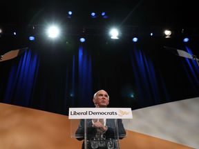 Lib Dem leader Sir Vince Cable makes his keynote speech at his party's conference