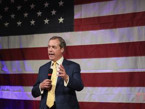 Nigel Farage speaks at a campaign event for Roy Moore in Alabama