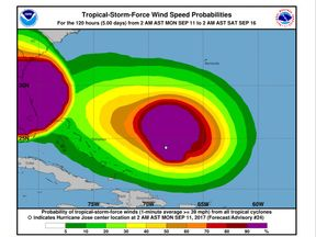 Wind forecast for Hurricane Jose. Pic National Hurricane Centre. Pic: NHC/NOAA
