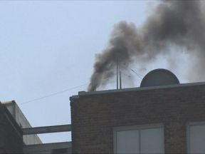 Smoke coming out of chimney at Russian Consulate in San Francisco