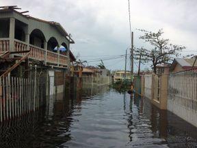 A flooded street is seen in the Juana Matos neighbourhood in Catano municipality, Puerto Rico