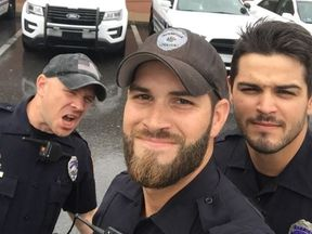 Gainesville Police department photo of sexy cops responding to Irma