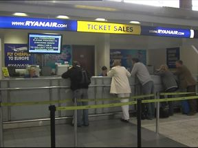 A Ryanair ticket office in an airport