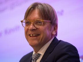 Guy Verhofstadt speaks during an event at the London School of Economics