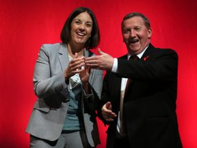Scottish Deputy Labour leader Alex Rowley (right) is congratulated by Scottish leader Kezia Dugdale after speaking at the Scottish Labour Conference at the Perth Concert Hall in Scotland.