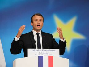 Emmanuel Macron lays out his vision for Europe in Paris