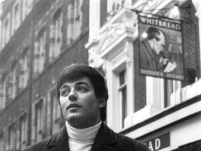 Tony Blackburn outside the Sherlock Holmes pub in Northumberland Street, London, in 1968
