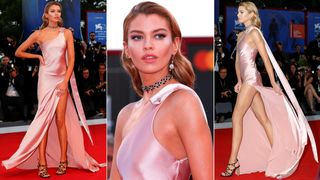 """Stella Maxwell poses as she arrives during a red carpet event for the movie """"Mother!"""" at the 74th Venice Film Festival in Venice, Italy"""