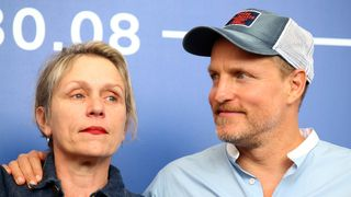 """Actors Frances McDormand and Woody Harrelson during a photocall for the movie """"Three Billboards Outside Ebbing, Missouri"""""""