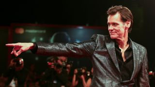 """Actor Jim Carrey poses during a red carpet event for the movie """"Jim & Andy: The Great Beyond"""""""