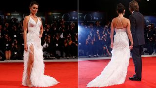 """Actor Penelope Cruz poses during a red carpet event for the movie """"Loving Pablo"""" at the 74th Venice Film Festival in Venice, Italy"""