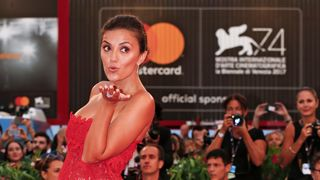 """Actress Serena Rossi poses at the red carpet for the movie """"Ammore e malavita"""""""