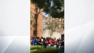 Part of a college in Mexico City collapses during the earthquake