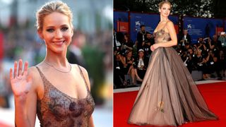 """Actors Jennifer Lawrence poses during a red carpet for the movie """"Mother!"""" at the 74th Venice Film Festival in Venice, Italy"""