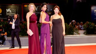 """Actors Rita Hayek (C), Christine Choueiri (R) and Diamand Bou Abboud during a red carpet event for the movie """"The Insult"""""""