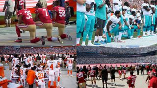 NFL players protest by kneeling during the national anthem