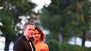 """Matt Damon and his wife Luciana during a red carpet for the movie """"Downsizing"""""""