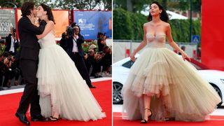 "Actor Matilda De Angelis kisses her boyfriend during a red carpet for the movie ''Una Famiglia"""
