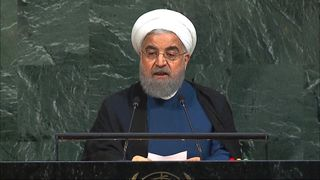 IRANIAN PRESIDENT HASSAN ROUHANI ADDRESSING THE UN.
