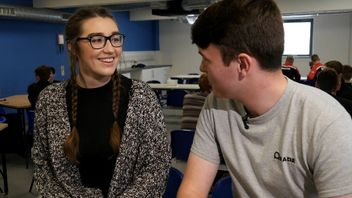 Student Rhiannon Phelps and apprentice Douglas Hauton debate tuition fees, student debt and whether university is value for money.