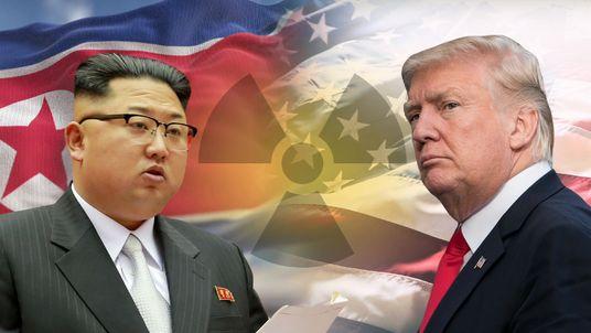 Graphic setup of Kim Jong Un and Donald Trump.
