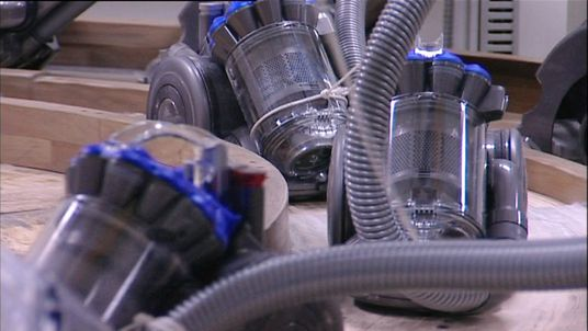 Dyson vacuum cleaners in factory.