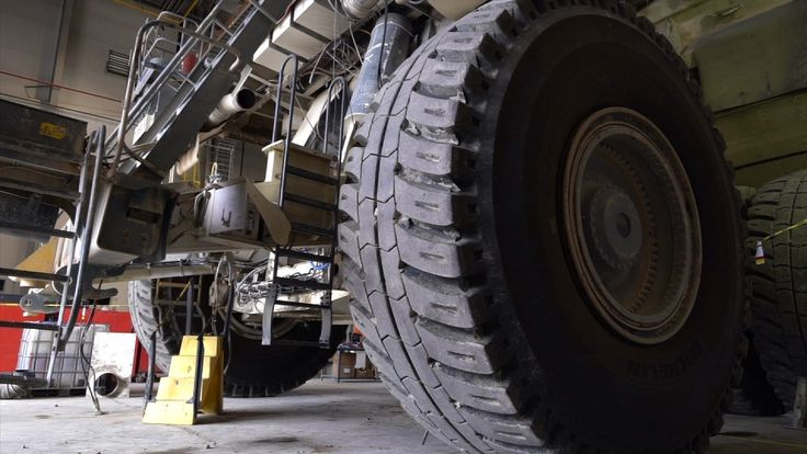 The wheels on some of the mining trucks are as big as a double deck bus