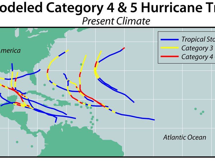 This is what the path of those more powerful storms will look like, compared to today.