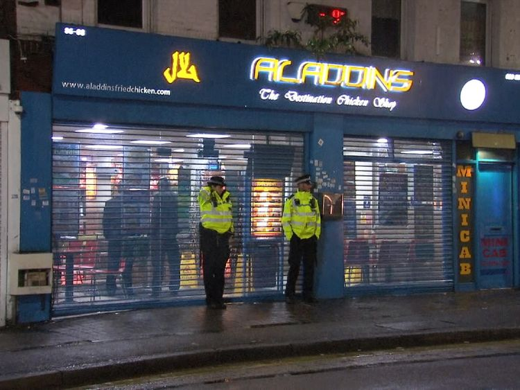 Aladdins chicken shop, where a 21 year old man was arrested