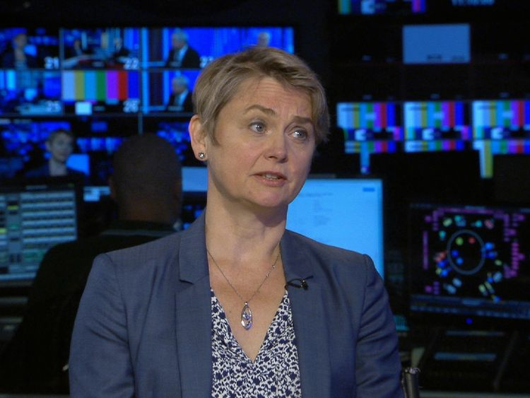 Yvette Cooper talking in Millbank studio.