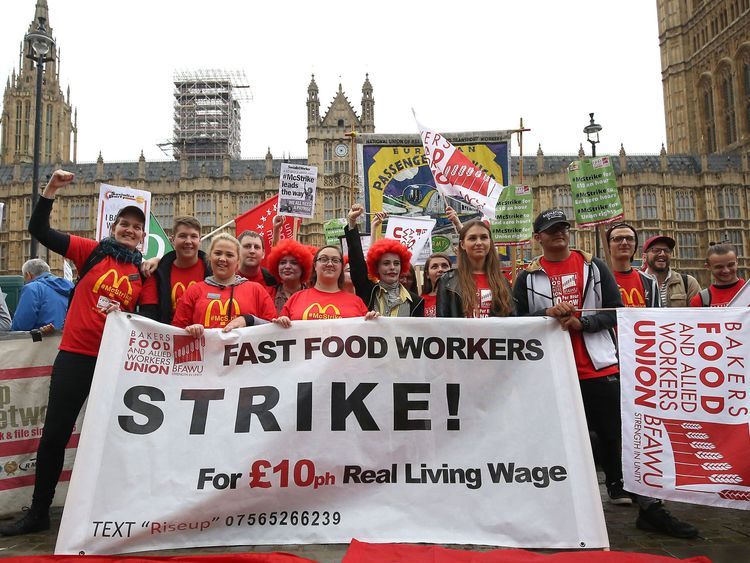 Supporters and staff from McDonald's outlets in Cambridge and Crayford at a Westminster rally