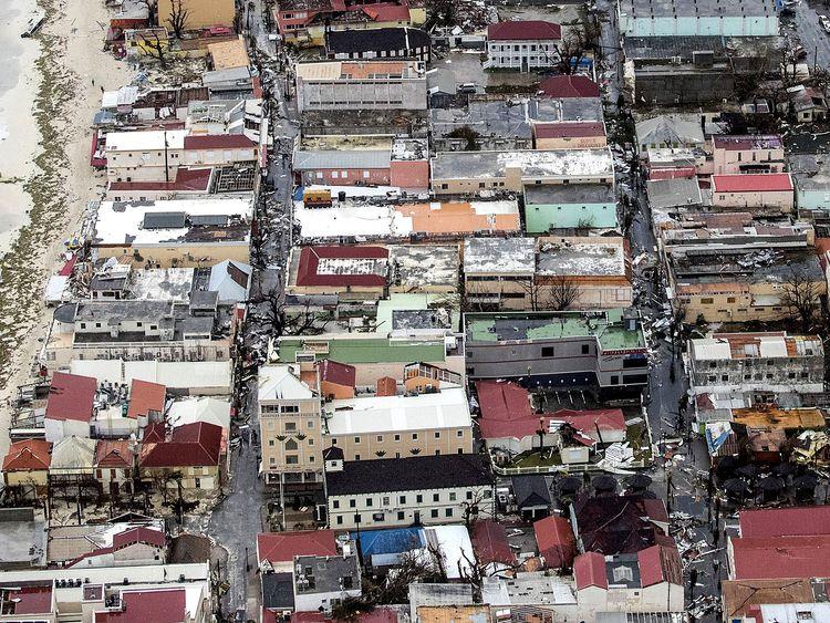 Damage of Hurricane Irma in Philipsburg, on the Dutch Caribbean island of Sint Maarten