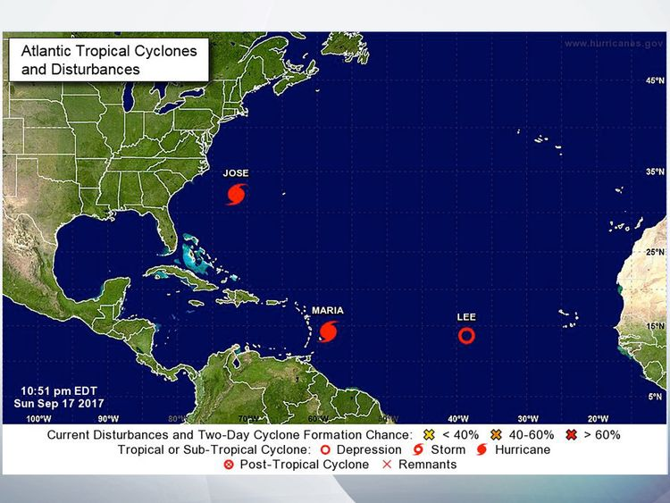 A map showing the positions of Hurricane Maria and Jose in the Atlantic at 5.30am UK time on Monday