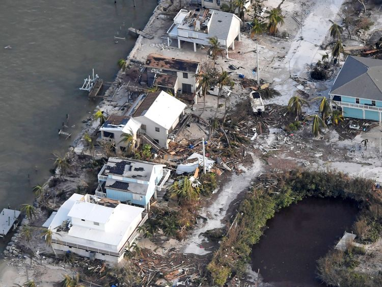 An aerial shot of Florida Keys after Hurricane Irma wreaked devastation
