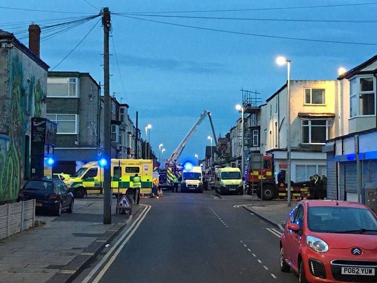 Emergency services in Charles Street, Blackpool after a gas explosion at a guest house. Pic: @RathangUK