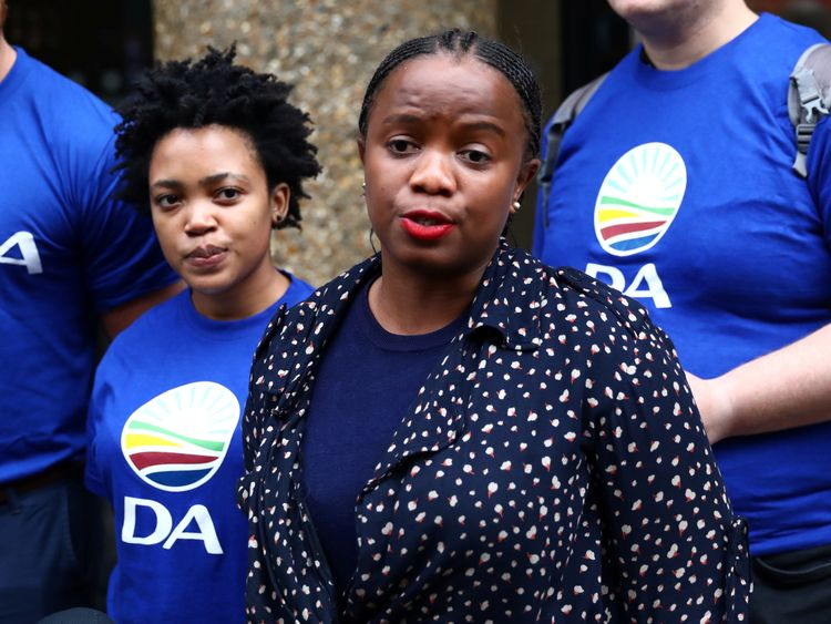 Phumzile Van Damme, of the Democratic Alliance, outside the Bell Pottinger offices in London
