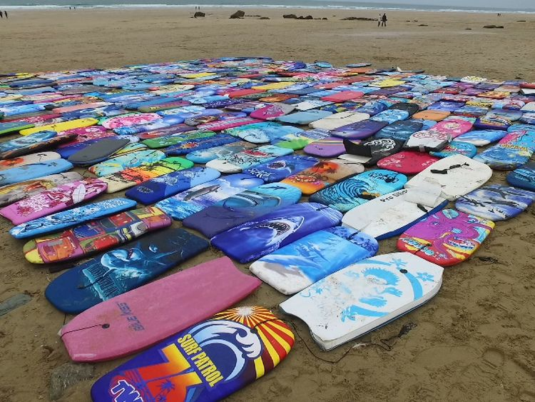Some of the waste bodyboards campaigners collected this summer