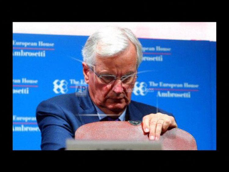Michel Barnier talking at the Ambrosetti conference in Cernobbio, Lake Como
