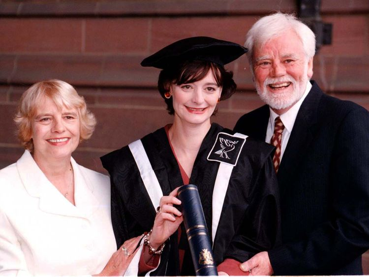 Cherie Booth with her parents Gale and Tony Booth in 1997