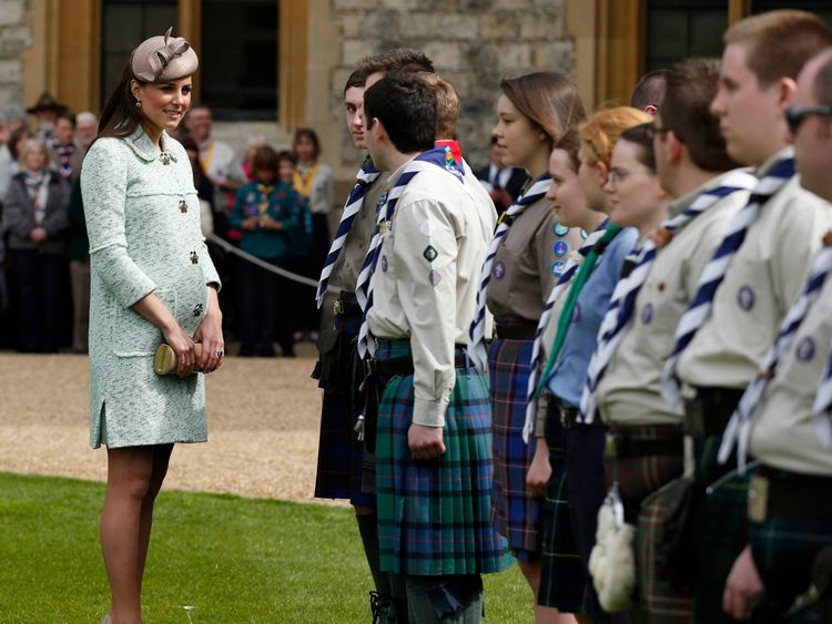 The Duchess of Cambridge meeting scouts while pregnant with George